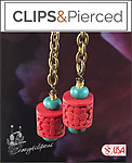 Boho Turquoise & Red Cinnabar Earrings | Your choice:  Pierced or Clips