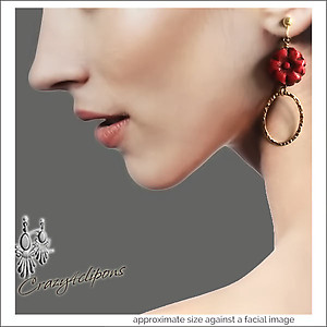 Margarita:  Gold & Red Hoop Earrings | Your choice:  Pierced or Clip on