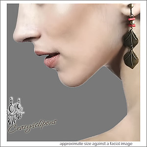 Autumn antique Brass Leaves Earrings | Your choice: Pierced or Clips