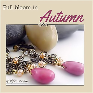 Autumn Flower.  Antique Brass Earrings | Your choice:  Pierced or Clips