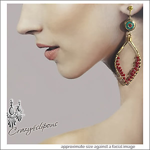 Bold Ethnic Gold Hoop Earrings