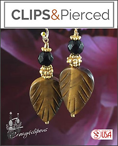 Black Onyx & Tiger-Eye Leaf Earrings | Your choice: Pierced or Clips