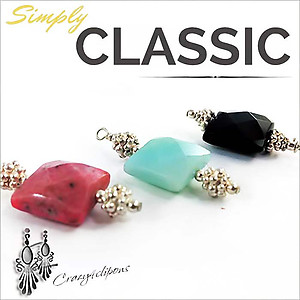 Semiprecious Stones Earrings | Your choice:  Pierced or Clips