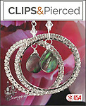Night Life! Fabulous Rhinestone Hoop Earrings | Your choice:  Pierced or Clips