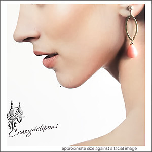 Silver & Pink Dangling Earrings | Your choice:  Pierced or Clips