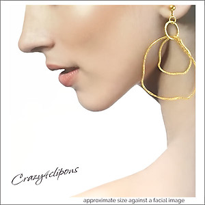 Large Gold Vermeil Hammered Hoops | Your choice:  Pierced or Clips