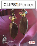 Earthy. Crystals & Wood Bead Earrings | Your choice:  Pierced or Clips