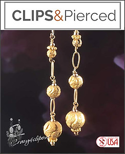 Gold Vermeil Stardust Dangling Earrings | Your choice:  Pierced or Clips