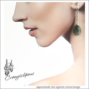 Long  Silver Braids & Jasper Gem Earrings | Your choice:  Pierced or Clips