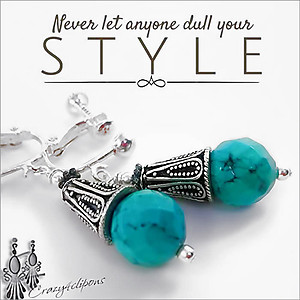 Turquoise & Silver Earrings | Your choice:  Pierced or Clips