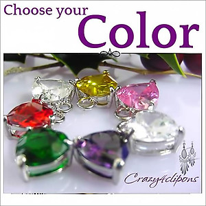 Colorful Zirconia Heart Earrings | Your choice:  Pierced or Clips