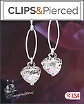 Valentines: Colorful Zirconia Heart Earrings | Your choice: Pierced or Clips