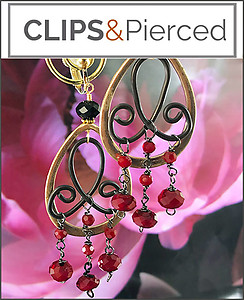 Wrought-Iron Gold Frame Earrings | Pierced and Clips
