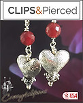 Valentines | Mother's Day: Darling Heart w/ Gem Earrings |Pierced or Clips