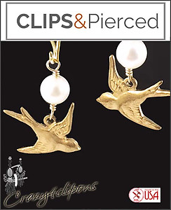 Easter, Spring Bird Earrings | Your choice:  Pierced or Clips