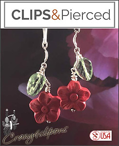 Red Cinnabar Floral Earrings | Your choice:  Pierced or Clips