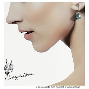 Teal Pearl Teardrop Earrings | Your choice: Pierced or Clips