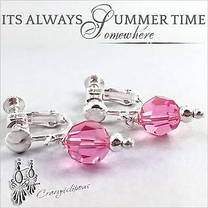 Pink Swarovski Crystal Earrings | Your choice: Pierced or Clips