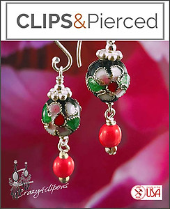 Colorful Cloisonne Earrings | Your choice:  Pierced or Clips
