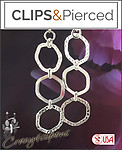 Dangling Triple Silver Hoop Earrings | Your choice: Pierced or Clips