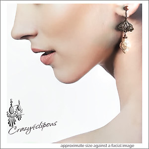 Unique & so Feminine.  Antique Copper Earrings | Your choice:  Pierced or Clips