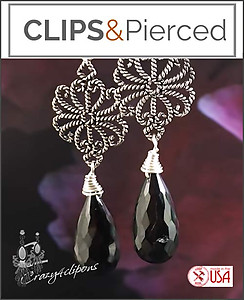 Sterling Silver w/  Black Garnet Earrings | Your choice:  Pierced or Clips