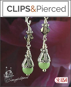 Green Jade & Swarovski Crystal Earrings | Your choice:  Pierced or Clips