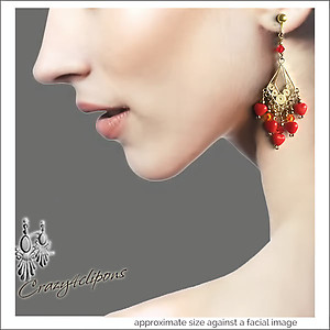 Mini Red Hearts Chandelier Earrings | Your choice:  Pierced or Clips