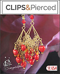 Valentines: Mini Red Hearts Chandelier Earrings | Your choice: Pierced or Clips