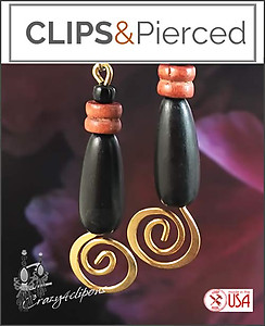 A little African Flair. Earthy Wood Beaded Earrings | Your choice: Pierced or Clips