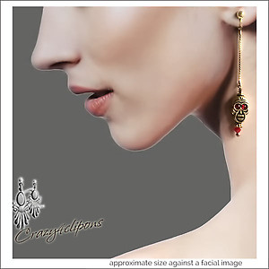 Temple of Doom Skull Earrings | Your choice:  Pierced or Clips