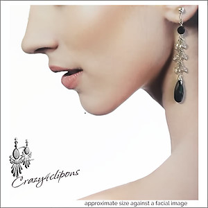 Sophisticated & Elegant Dangling Crystal Earrings | Your choice:  Pierced or Clips