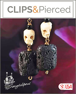 Halloween: Bones & Skulls.  Organic Earrings |Pierced or Clips