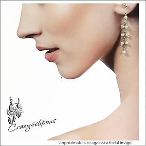 Long Bridal Pearl Vine Earrings| Your choice:  Pierced or Clips