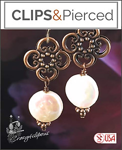 Antique Copper & Pearls Artisan Earrings | Your choice:  Pierced or Clips