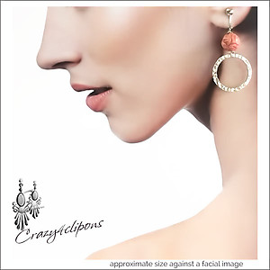 Hoops & Roses Dangling Earrings | Your choice:  Pierced or Clips