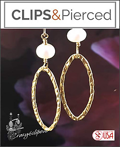 Gold Filled Oval Hoop w/ Pearls Earrings | Your choice: Pierced or Clips