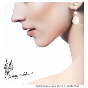 White Mother of Pearl Earrings| Your choice: Pierced or Clips