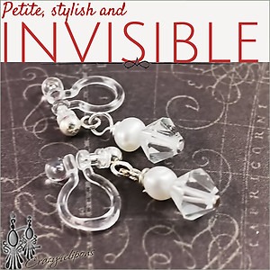 Petite Swarovski Crystal and Pearls invisible clip earrings