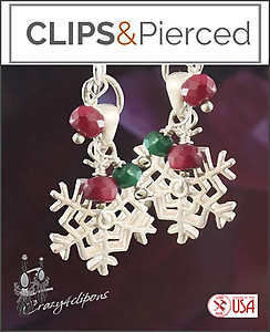 Little Christmas Snowflake Earrings | Your choice:  Pierced or Clips