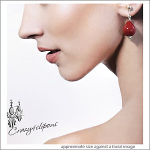 Christmas: Lucite Red Teardrop Earrings | Your choice: Pierced or Clips
