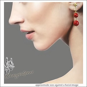 Christmas Cranberries. Gold / Red Earrings | Your choice:  Pierced or Clips