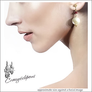 Christmas: Amazing Grace. Pearl Coins & Ruby Earrings | Your choice: Pierced or Clips