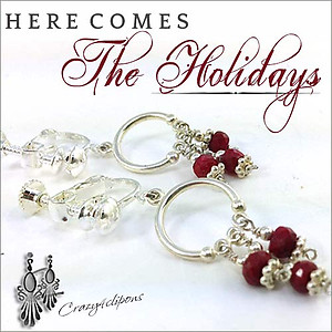 Christmas: Little Hoop Earrings w/ Rubies | Your choice: Pierced or Clips
