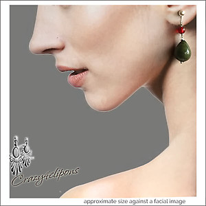 Moss  Green Teardrop Earrings | Your choice:  Pierced or Clips