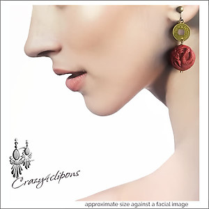 Eclectic & Dramatic  Fire Red Dragon Earrings  | Your choice:  Pierced or Clips