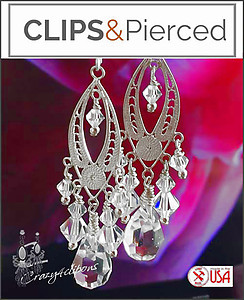 Sterling Filigree w/ Crystal Earrings | Your choice:  Pierced or Clips