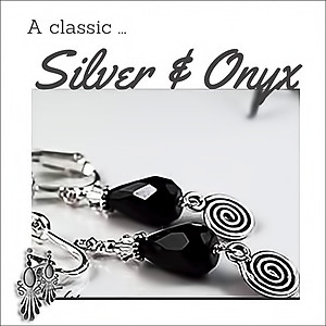 Swirled Oxidized Silver & Black Onyx Earrings | Your choice: Pierced or Clips