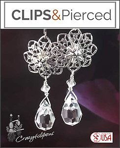 Sterling Silver & Crystal Earrings | Your choice:  Pierced or Clips
