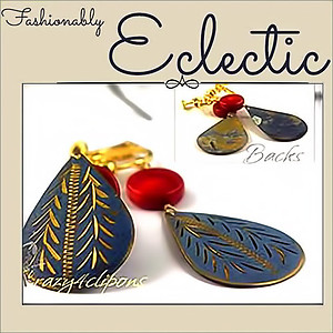 Exotic & Distressed Vintage Charm Earrings | Your choice:  Pierced or Clips